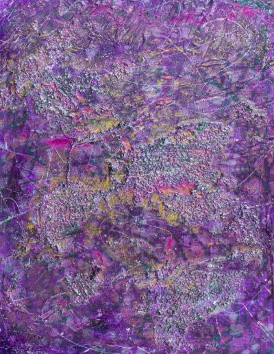 """clematis, 16"""" x 20"""", acrylic and oil pigments, resin, crushed stone, plaster; panel"""