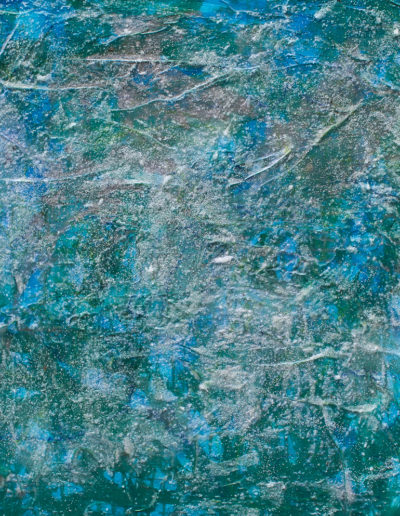 """jellyfish sway, 30"""" x 30""""; acrylic pigment, glass, plaster and oil pigment; panel"""